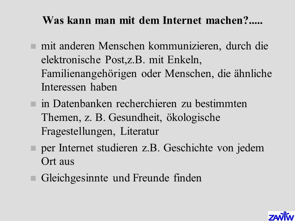 Was kann man mit dem Internet machen?.....