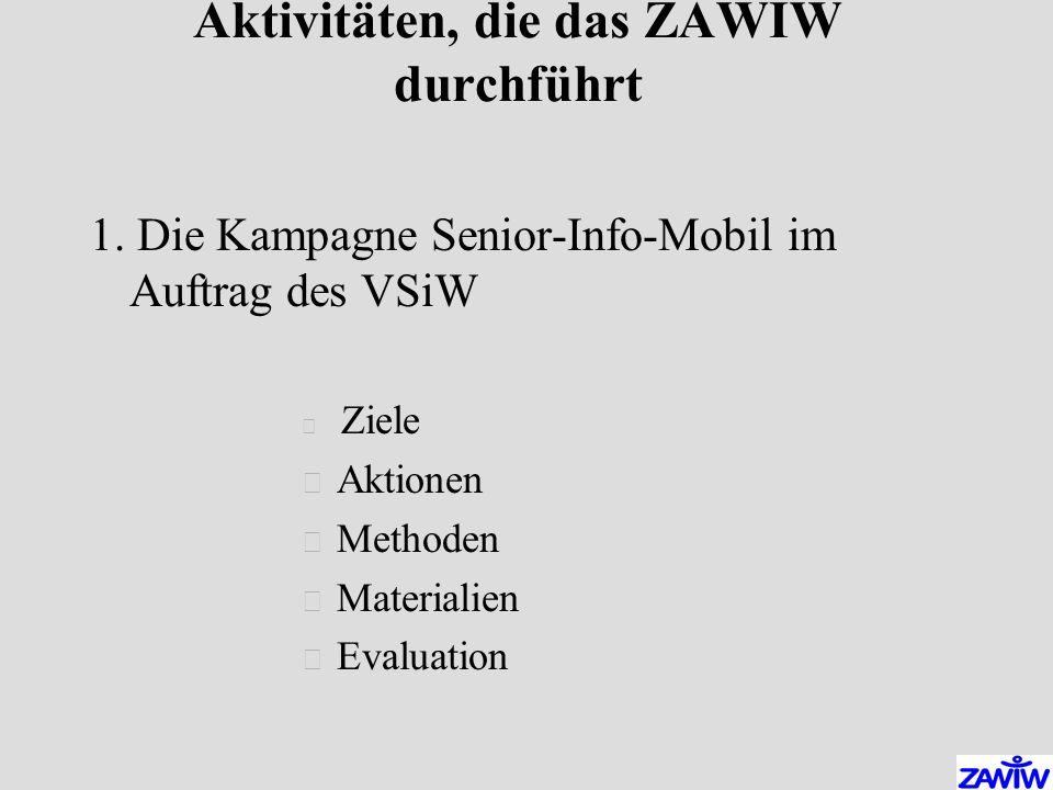 Aktivitäten, die das ZAWIW durchführt 1.