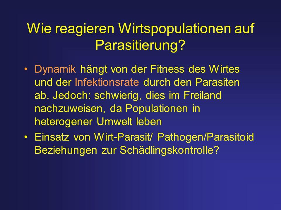 Wie reagieren Wirtspopulationen auf Parasitierung? Dynamik hängt von der Fitness des Wirtes und der Infektionsrate durch den Parasiten ab. Jedoch: sch