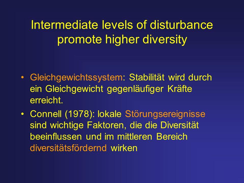 Intermediate levels of disturbance promote higher diversity Gleichgewichtssystem: Stabilität wird durch ein Gleichgewicht gegenläufiger Kräfte erreich