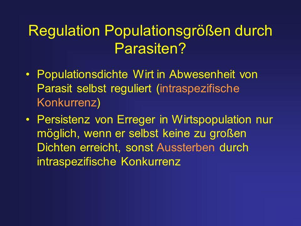 Regulation Populationsgrößen durch Parasiten? Populationsdichte Wirt in Abwesenheit von Parasit selbst reguliert (intraspezifische Konkurrenz) Persist