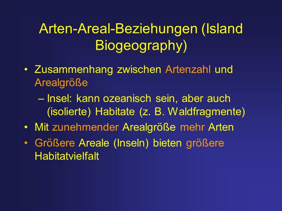 Arten-Areal-Beziehungen (Island Biogeography) Zusammenhang zwischen Artenzahl und Arealgröße –Insel: kann ozeanisch sein, aber auch (isolierte) Habita