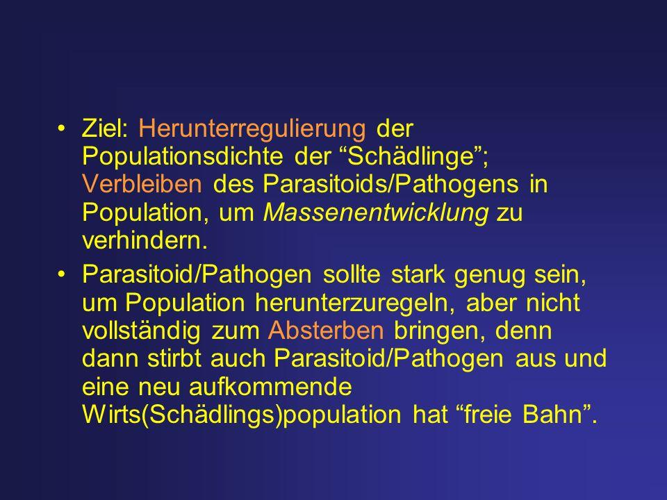 Ziel: Herunterregulierung der Populationsdichte der Schädlinge; Verbleiben des Parasitoids/Pathogens in Population, um Massenentwicklung zu verhindern