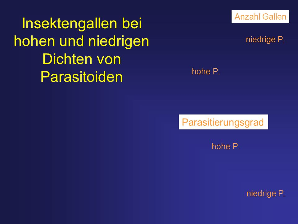 Insektengallen bei hohen und niedrigen Dichten von Parasitoiden Anzahl Gallen Parasitierungsgrad niedrige P. hohe P. niedrige P. hohe P.