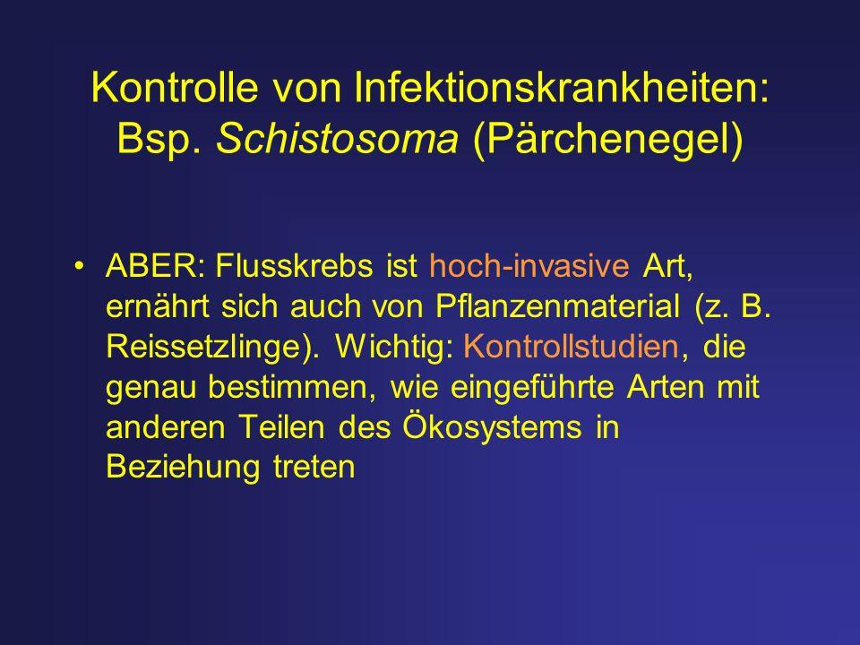 Kontrolle von Infektionskrankheiten: Bsp. Schistosoma (Pärchenegel) ABER: Flusskrebs ist hoch-invasive Art, ernährt sich auch von Pflanzenmaterial (z.