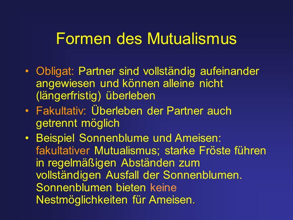 Formen des Mutualismus Obligat: Partner sind vollständig aufeinander angewiesen und können alleine nicht (längerfristig) überleben Fakultativ: Überleb