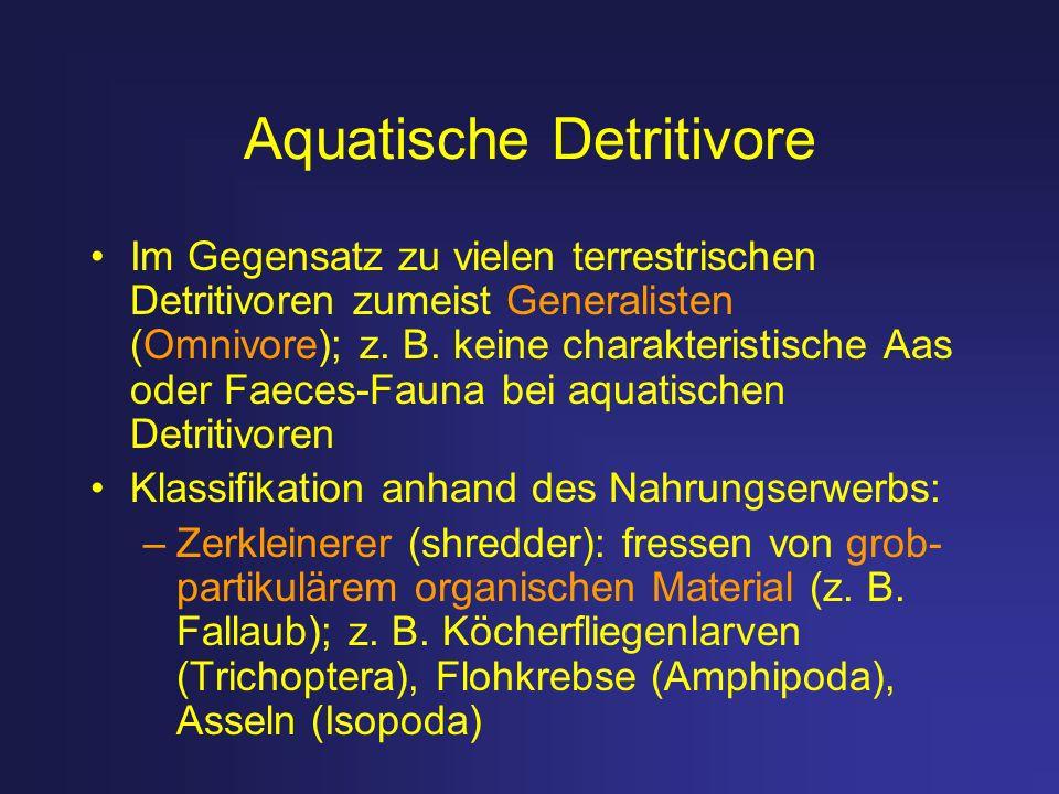 Aquatische Detritivore Im Gegensatz zu vielen terrestrischen Detritivoren zumeist Generalisten (Omnivore); z. B. keine charakteristische Aas oder Faec