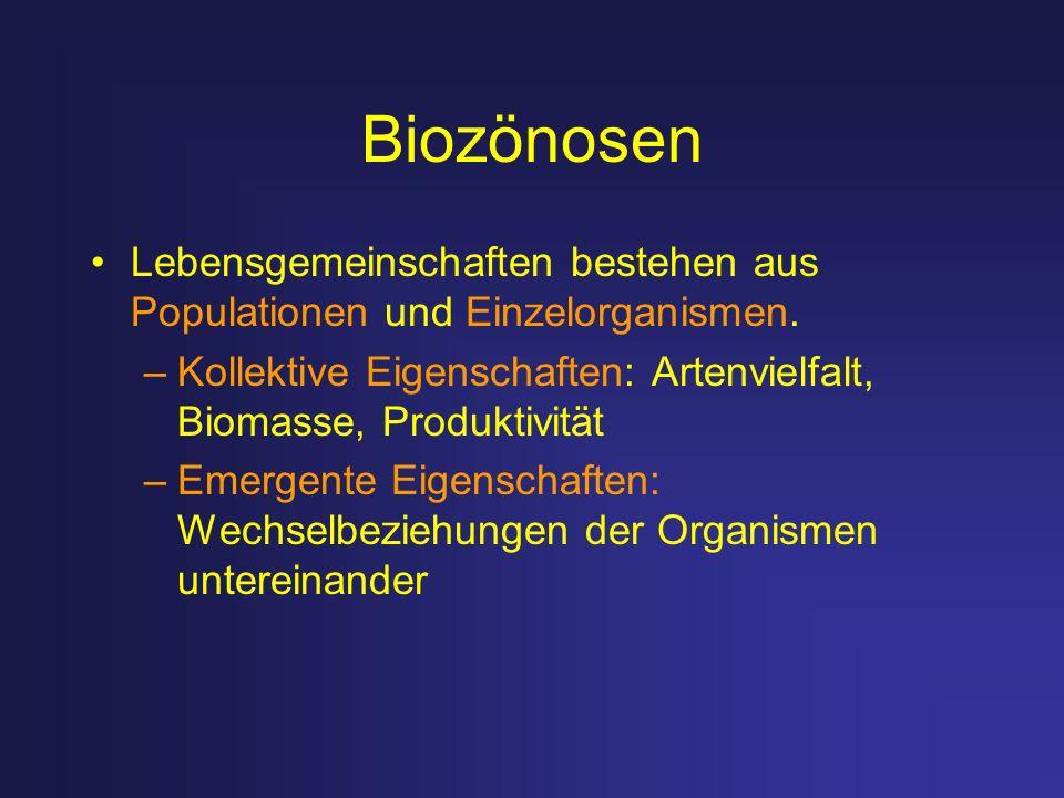Biozönosen Lebensgemeinschaften bestehen aus Populationen und Einzelorganismen. –Kollektive Eigenschaften: Artenvielfalt, Biomasse, Produktivität –Eme