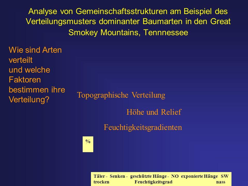 Analyse von Gemeinschaftsstrukturen am Beispiel des Verteilungsmusters dominanter Baumarten in den Great Smokey Mountains, Tennnessee Topographische V
