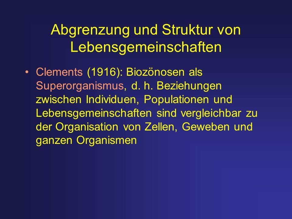 Abgrenzung und Struktur von Lebensgemeinschaften Clements (1916): Biozönosen als Superorganismus, d. h. Beziehungen zwischen Individuen, Populationen
