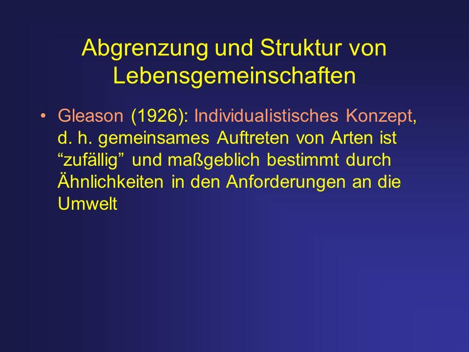 Abgrenzung und Struktur von Lebensgemeinschaften Gleason (1926): Individualistisches Konzept, d. h. gemeinsames Auftreten von Arten ist zufällig und m