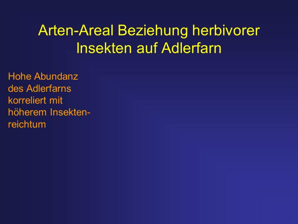 Arten-Areal Beziehung herbivorer Insekten auf Adlerfarn Hohe Abundanz des Adlerfarns korreliert mit höherem Insekten- reichtum