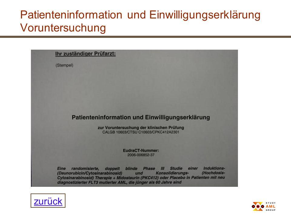 Patienteninformation und Einwilligungserklärung Voruntersuchung zurück