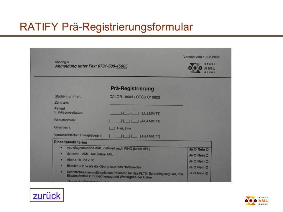 RATIFY Prä-Registrierungsformular zurück
