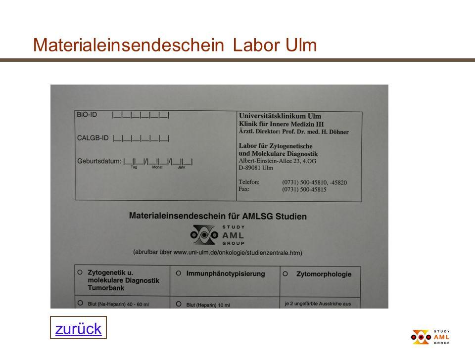 Materialeinsendeschein Labor Ulm zurück