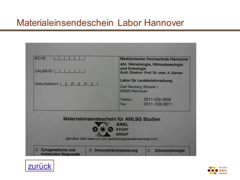 Materialeinsendeschein Labor Hannover zurück