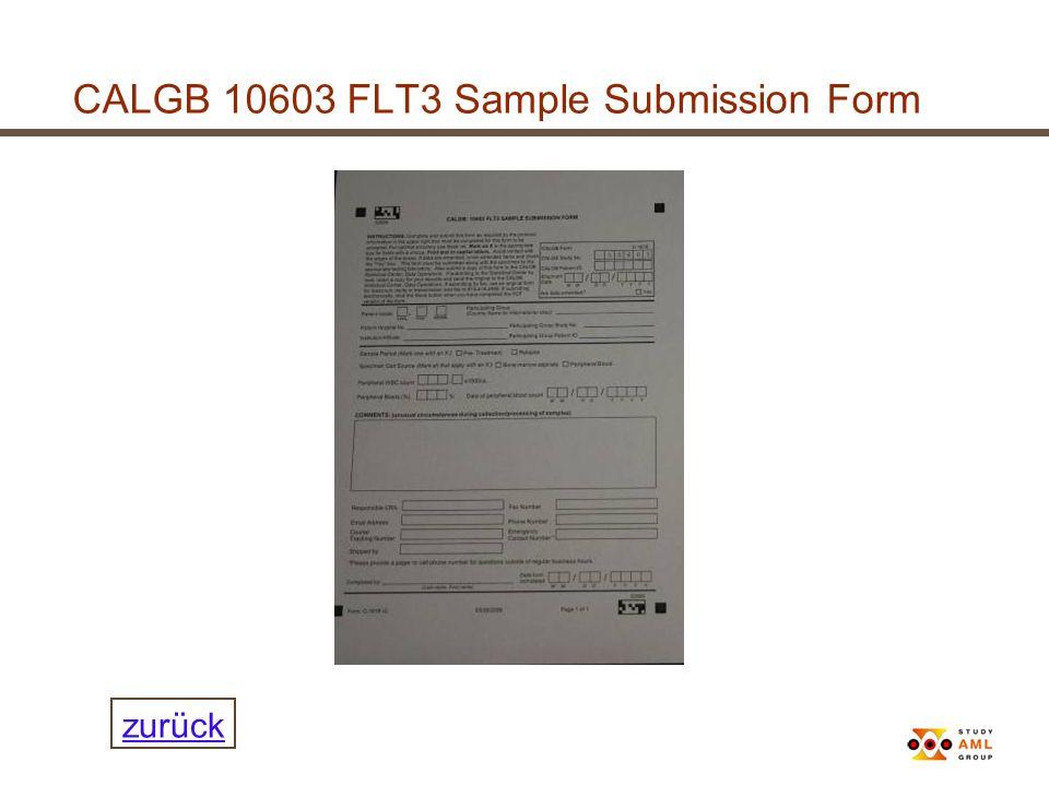 CALGB 10603 FLT3 Sample Submission Form zurück