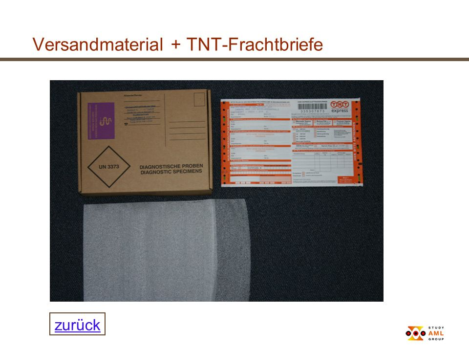 Versandmaterial + TNT-Frachtbriefe zurück