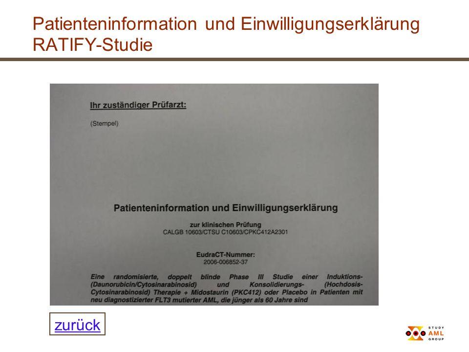 Patienteninformation und Einwilligungserklärung RATIFY-Studie zurück