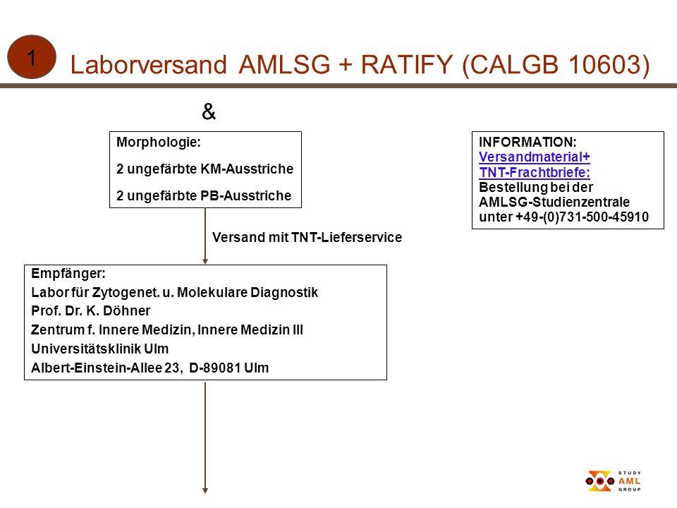 Laborversand AMLSG + RATIFY (CALGB 10603) 1 & Morphologie: 2 ungefärbte KM-Ausstriche 2 ungefärbte PB-Ausstriche INFORMATION: Versandmaterial+ TNT-Fra