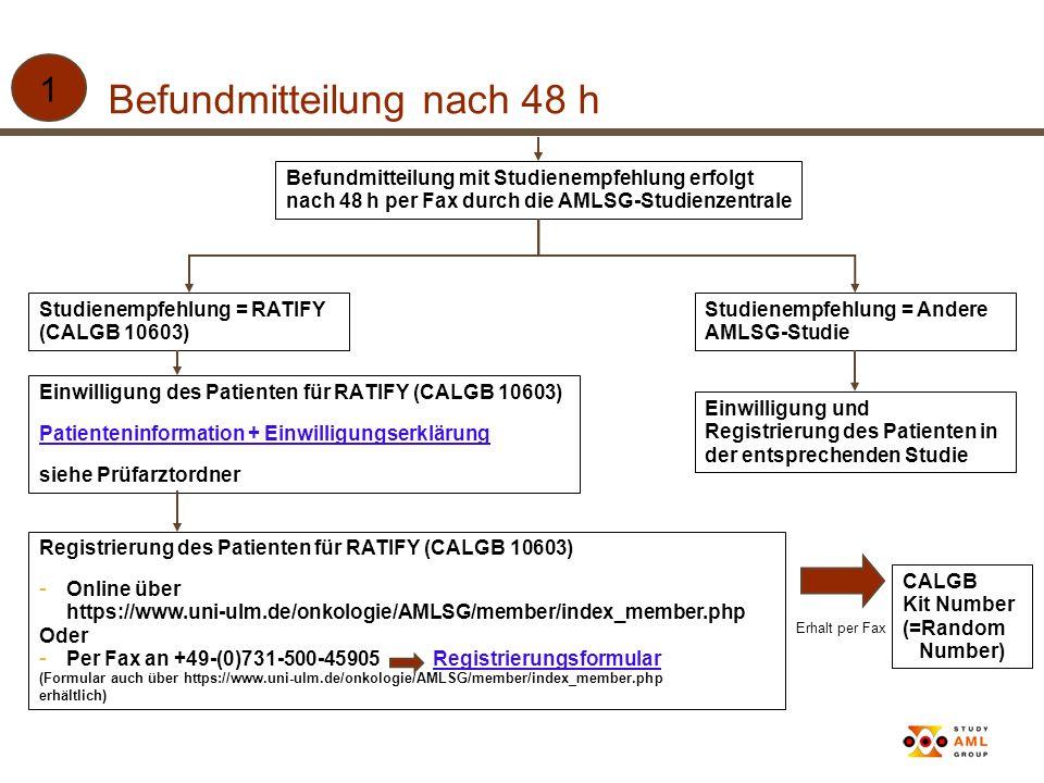 Registrierung des Patienten für RATIFY (CALGB 10603) - Online über https://www.uni-ulm.de/onkologie/AMLSG/member/index_member.php Oder - Per Fax an +4
