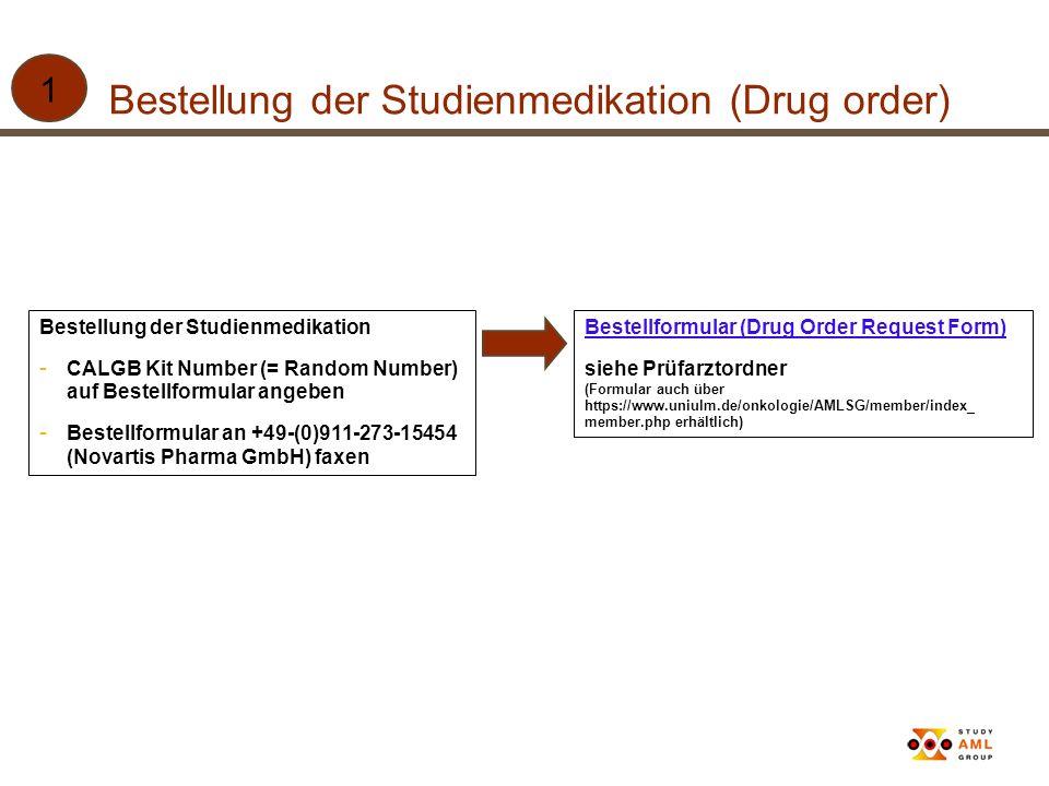 Bestellung der Studienmedikation (Drug order) Bestellung der Studienmedikation - CALGB Kit Number (= Random Number) auf Bestellformular angeben - Best