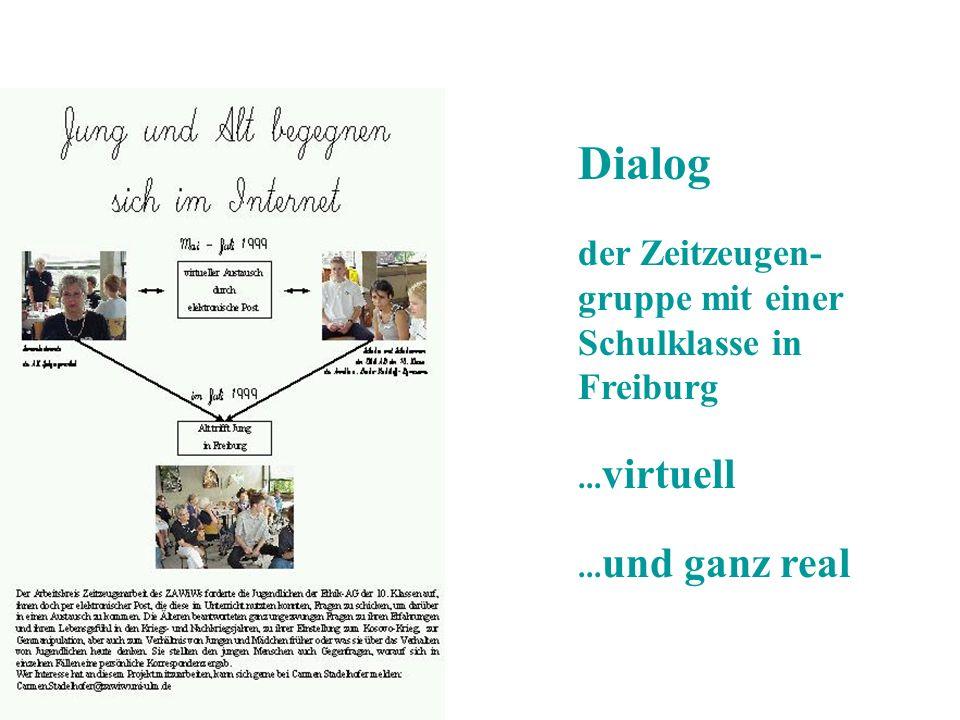 Dialog der Zeitzeugen- gruppe mit einer Schulklasse in Freiburg... virtuell... und ganz real