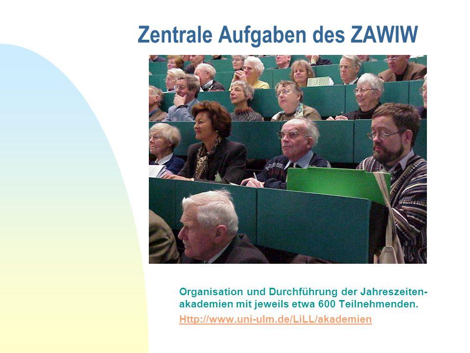Zentrale Aufgaben des ZAWIW Organisation und Durchführung der Jahreszeiten- akademien mit jeweils etwa 600 Teilnehmenden.