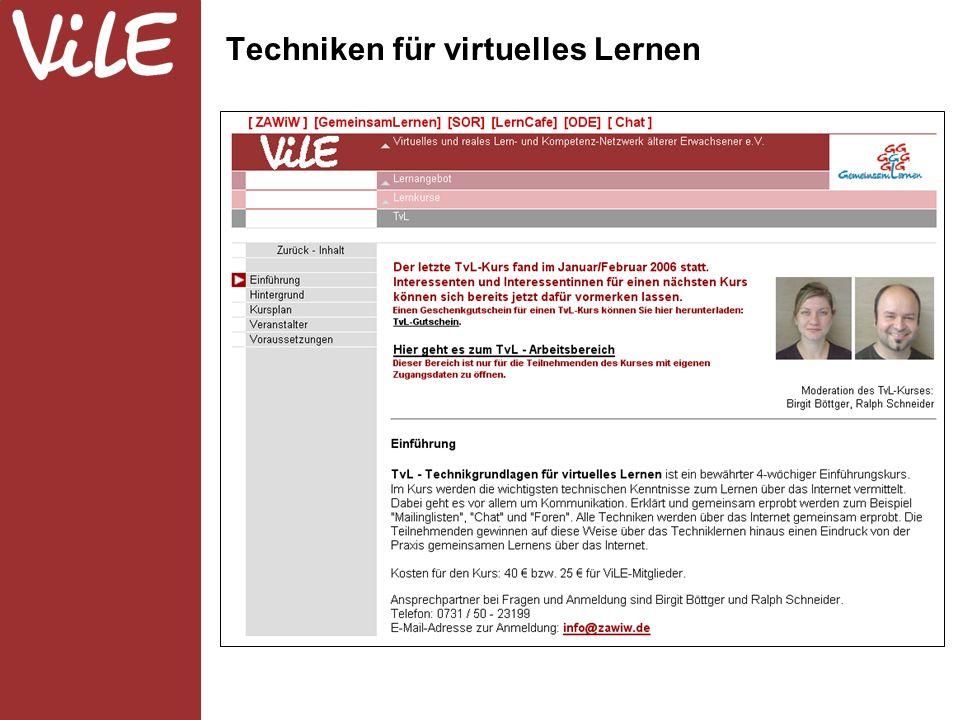 Techniken für virtuelles Lernen