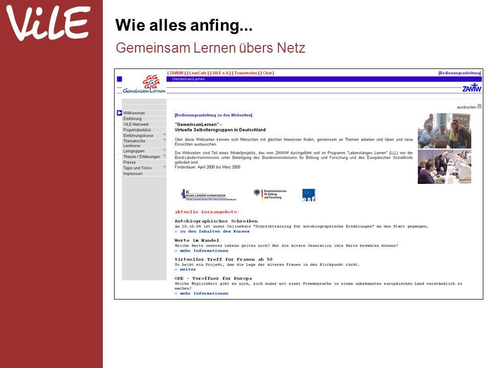 Gründung des ViLE-Netzwerks Vernetzung vor Ort und gegenseitige Hilfe Kommunikation und Austausch Lernen über das Netz Reale Seminare und Weiterbildung