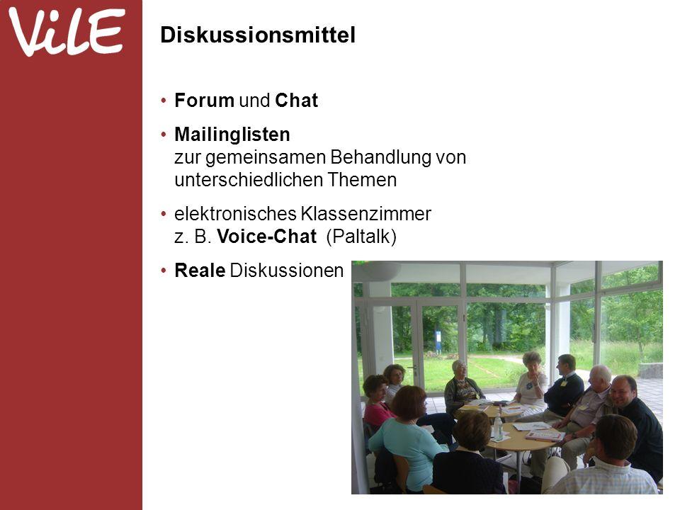 Forum und Chat Mailinglisten zur gemeinsamen Behandlung von unterschiedlichen Themen elektronisches Klassenzimmer z.
