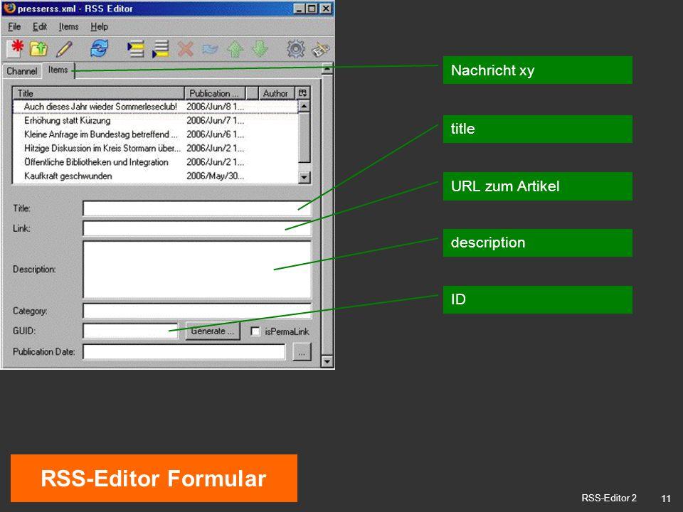 11 RSS-Editor Formular RSS-Editor 2 Nachricht xy title description URL zum Artikel ID