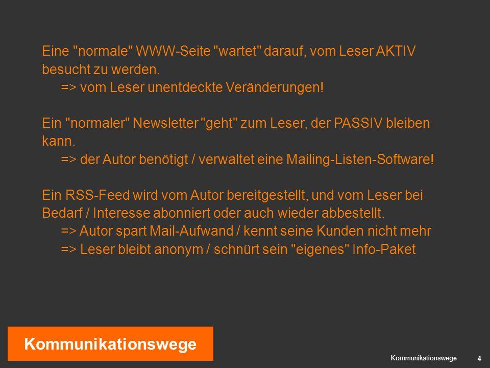 4 Kommunikationswege Eine normale WWW-Seite wartet darauf, vom Leser AKTIV besucht zu werden.