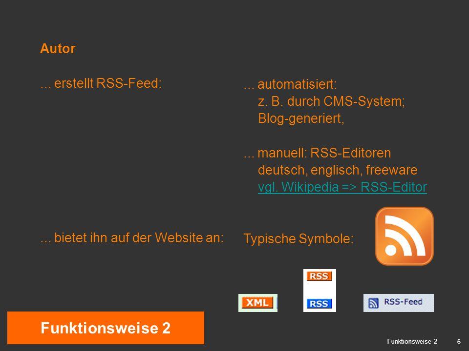 6 Funktionsweise 2 Autor... erstellt RSS-Feed:...