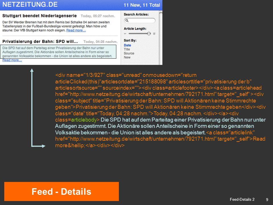 10 RSS-Editor Formular RSS-Editor 1 Nachricht 1 Nachricht 2 Feed-Beschreibung