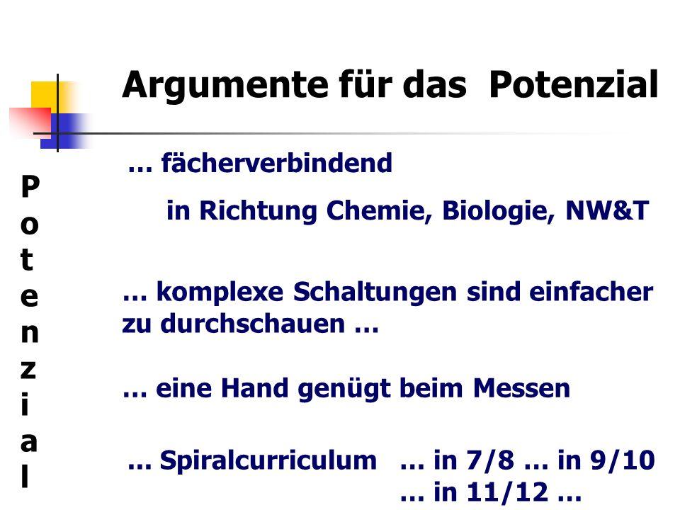 Argumente für das Potenzial … fächerverbindend in Richtung Chemie, Biologie, NW&T PotenzialPotenzial … komplexe Schaltungen sind einfacher zu durchsch