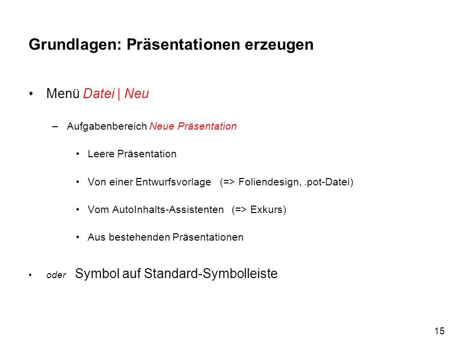 15 Grundlagen: Präsentationen erzeugen Menü Datei | Neu –Aufgabenbereich Neue Präsentation Leere Präsentation Von einer Entwurfsvorlage (=> Foliendesi