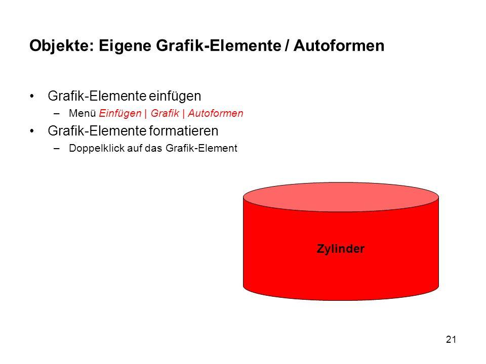 21 Objekte: Eigene Grafik-Elemente / Autoformen Grafik-Elemente einfügen –Menü Einfügen | Grafik | Autoformen Grafik-Elemente formatieren –Doppelklick