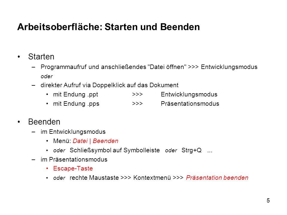 6 Arbeitsoberfläche: Elemente im Anwendungsfenster Titelleiste / mit Windows-Symbolen Bildlaufleisten Menüleiste Symbolleisten: Standard, Format, evtl.