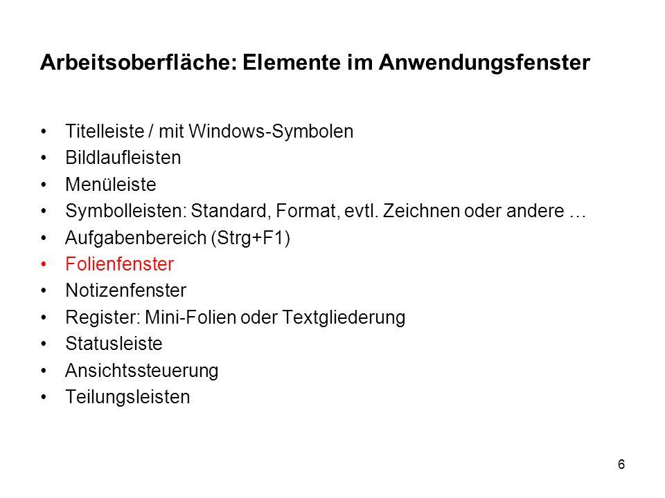 6 Arbeitsoberfläche: Elemente im Anwendungsfenster Titelleiste / mit Windows-Symbolen Bildlaufleisten Menüleiste Symbolleisten: Standard, Format, evtl