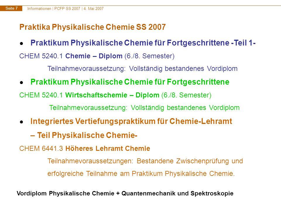 Informationen | PCFP SS 2007 | 4. Mai 2007 Seite 8 Zeitplanung