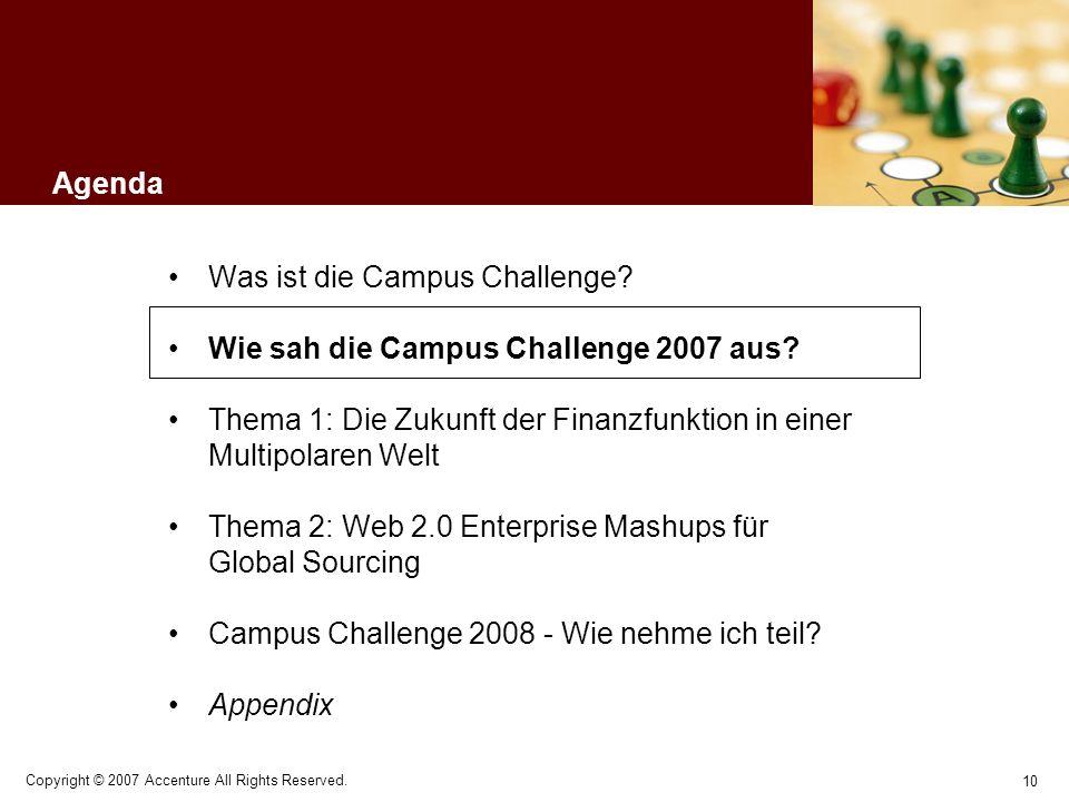 10 Copyright © 2007 Accenture All Rights Reserved. Agenda Was ist die Campus Challenge? Wie sah die Campus Challenge 2007 aus? Thema 1: Die Zukunft de