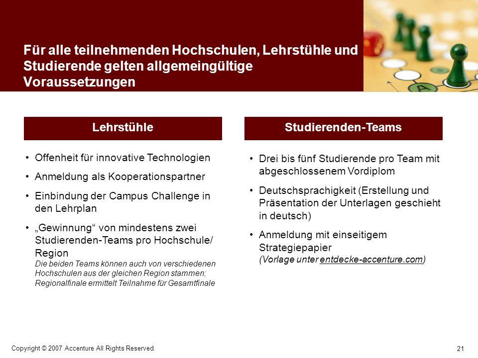 21 Copyright © 2007 Accenture All Rights Reserved. Für alle teilnehmenden Hochschulen, Lehrstühle und Studierende gelten allgemeingültige Voraussetzun