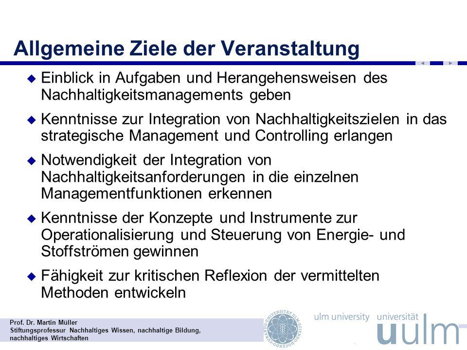 Prof. Dr. Martin Müller Stiftungsprofessur Nachhaltiges Wissen, nachhaltige Bildung, nachhaltiges Wirtschaften Allgemeine Ziele der Veranstaltung Einb