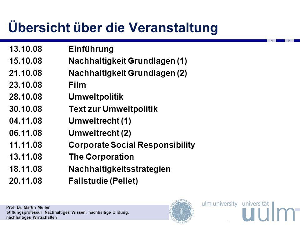 Prof. Dr. Martin Müller Stiftungsprofessur Nachhaltiges Wissen, nachhaltige Bildung, nachhaltiges Wirtschaften Übersicht über die Veranstaltung - 13.1