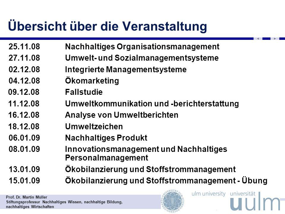 Prof. Dr. Martin Müller Stiftungsprofessur Nachhaltiges Wissen, nachhaltige Bildung, nachhaltiges Wirtschaften Übersicht über die Veranstaltung - 25.1