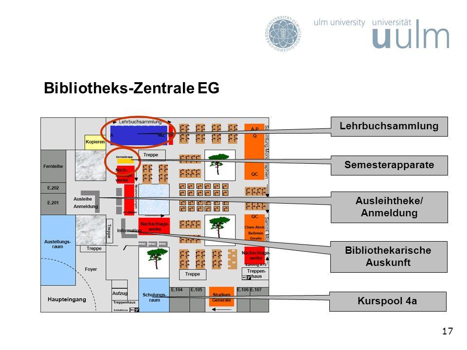 17 Bibliotheks-Zentrale EG Lehrbuchsammlung Semesterapparate Ausleihtheke/ Anmeldung Bibliothekarische Auskunft Kurspool 4a