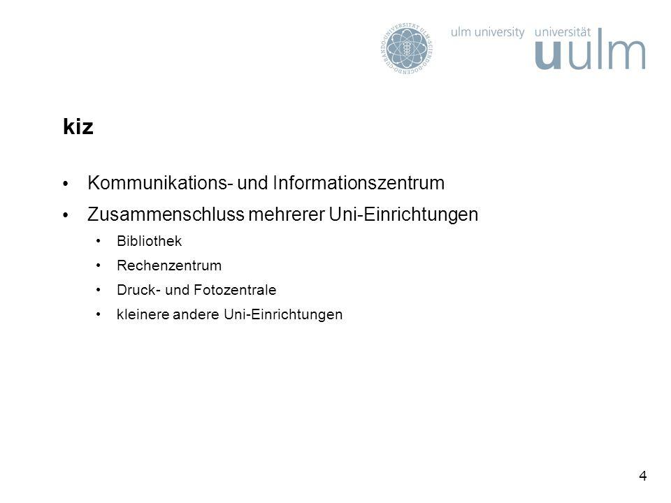 35 Sonderangebote für Studierende (2) Software-Shop der Universit ä t Ulm mit weiteren verg ü nstigten Lizenzen (F&L-Preise) auf der kiz-homepage http://kiz.uni-ulm.dehttp://kiz.uni-ulm.de im Bereich Informationstechnik Software & Lizenzen Lizenzen