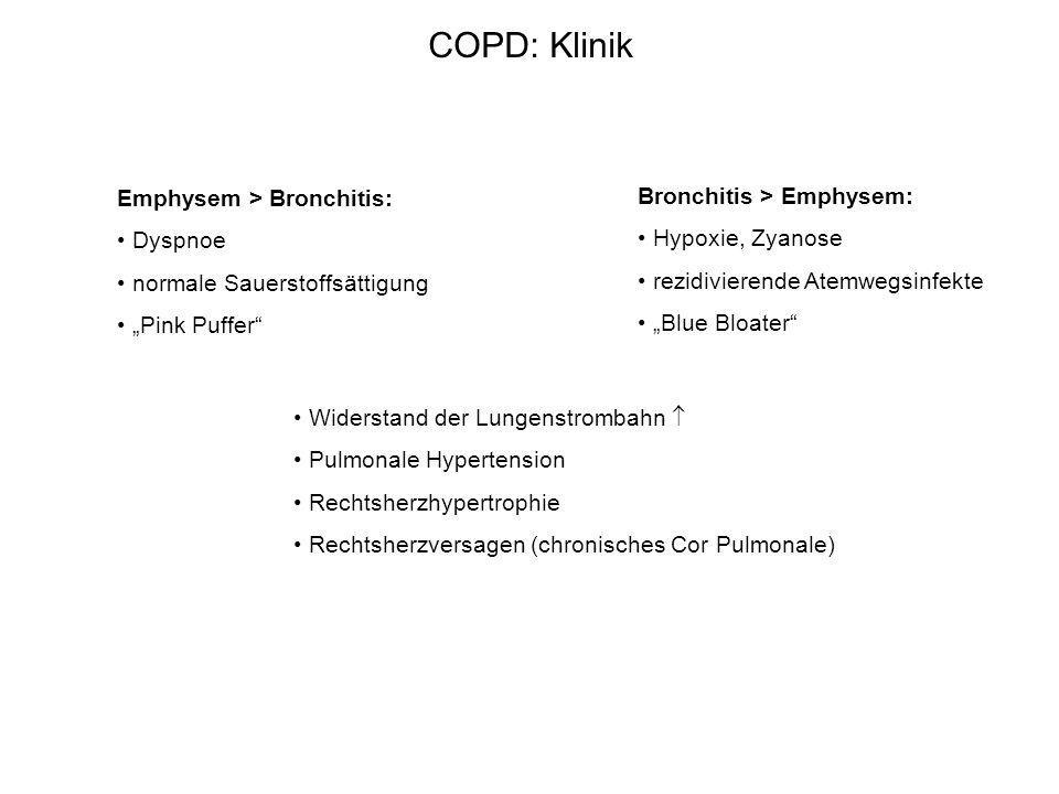 COPD: Klinik Emphysem > Bronchitis: Dyspnoe normale Sauerstoffsättigung Pink Puffer Bronchitis > Emphysem: Hypoxie, Zyanose rezidivierende Atemwegsinf