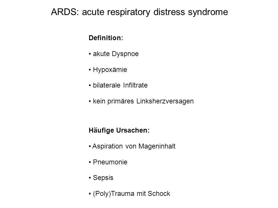 ARDS: acute respiratory distress syndrome Definition: akute Dyspnoe Hypoxämie bilaterale Infiltrate kein primäres Linksherzversagen Häufige Ursachen: